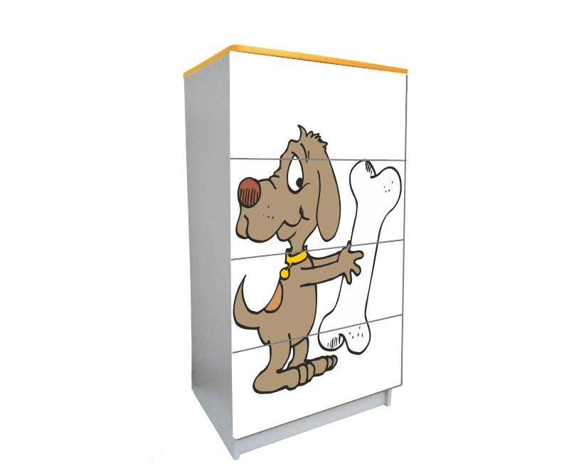 детский комод на 4 ящика мультяшная собачка