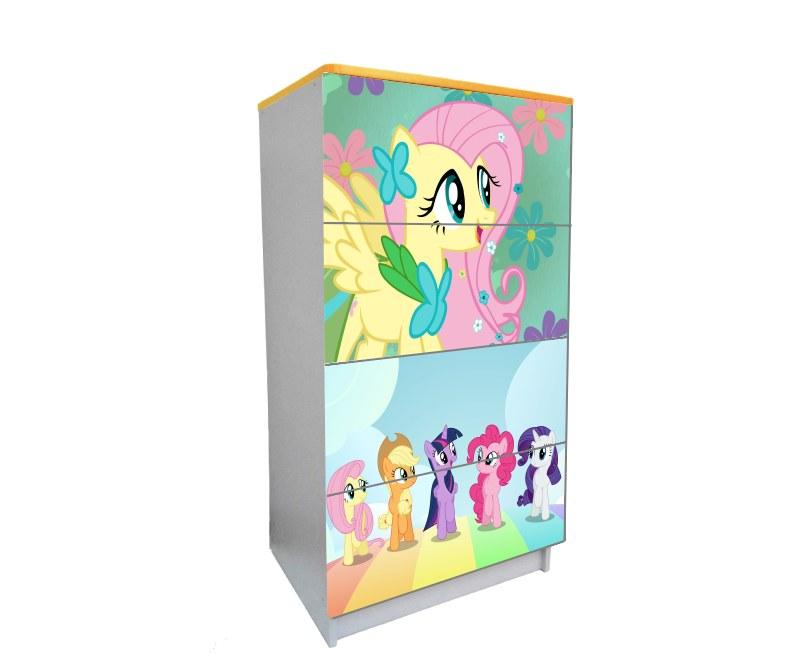 детский комод на 4 ящика мой маленький пони розовый