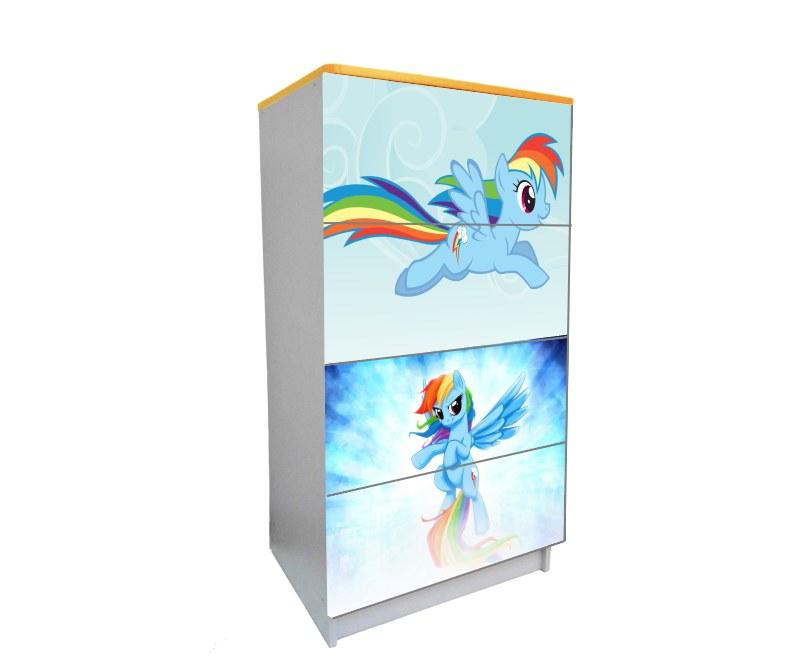 детский комод на 4 ящика пони голубой нежный