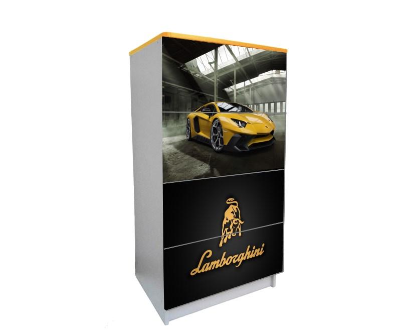 желтый комод на 4 ящика ламбо-двери черный с желтым