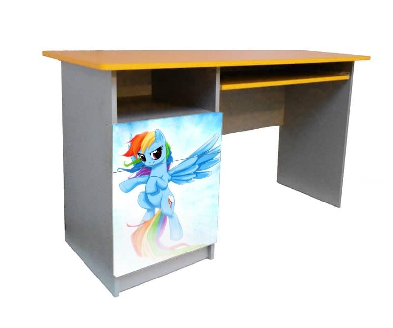 письменный стол для девочки пони желтый с голубым