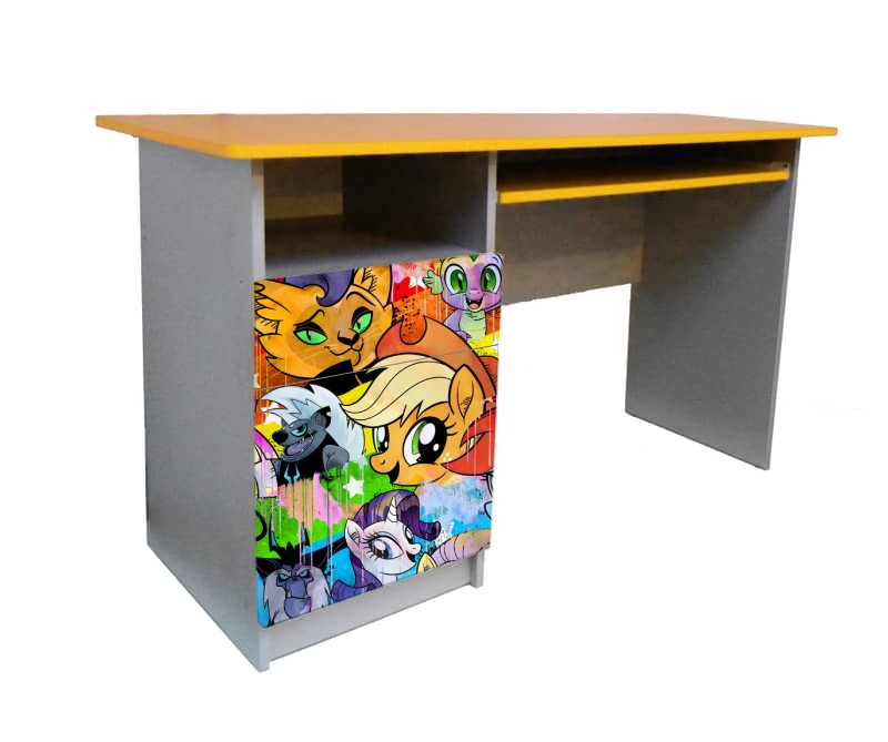 письменный стол для девочки пони желтый