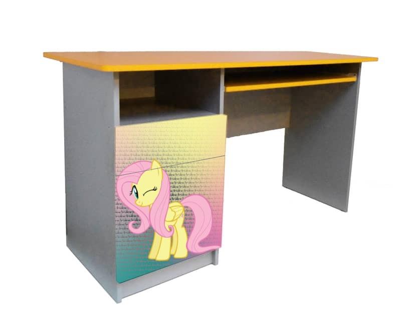 письменный стол для девочки пони розовый с желтым