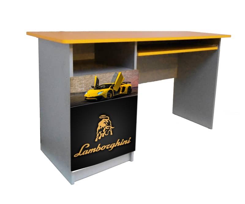 желтый письменный стол ламбо с черным логотипом для мальчика