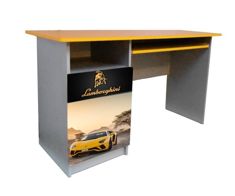 желтый письменный стол ламбо с логотипом