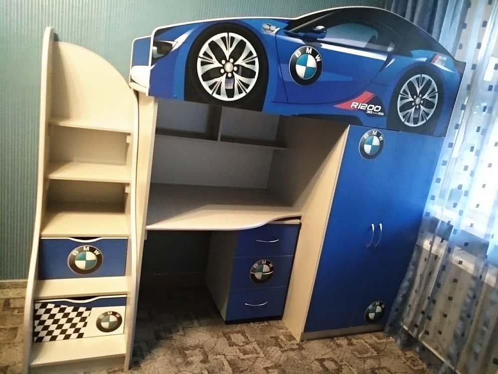 кровать чердак машина бмв синяя бр1