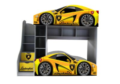 двоповерхове ліжко машинка ламборджині жовта