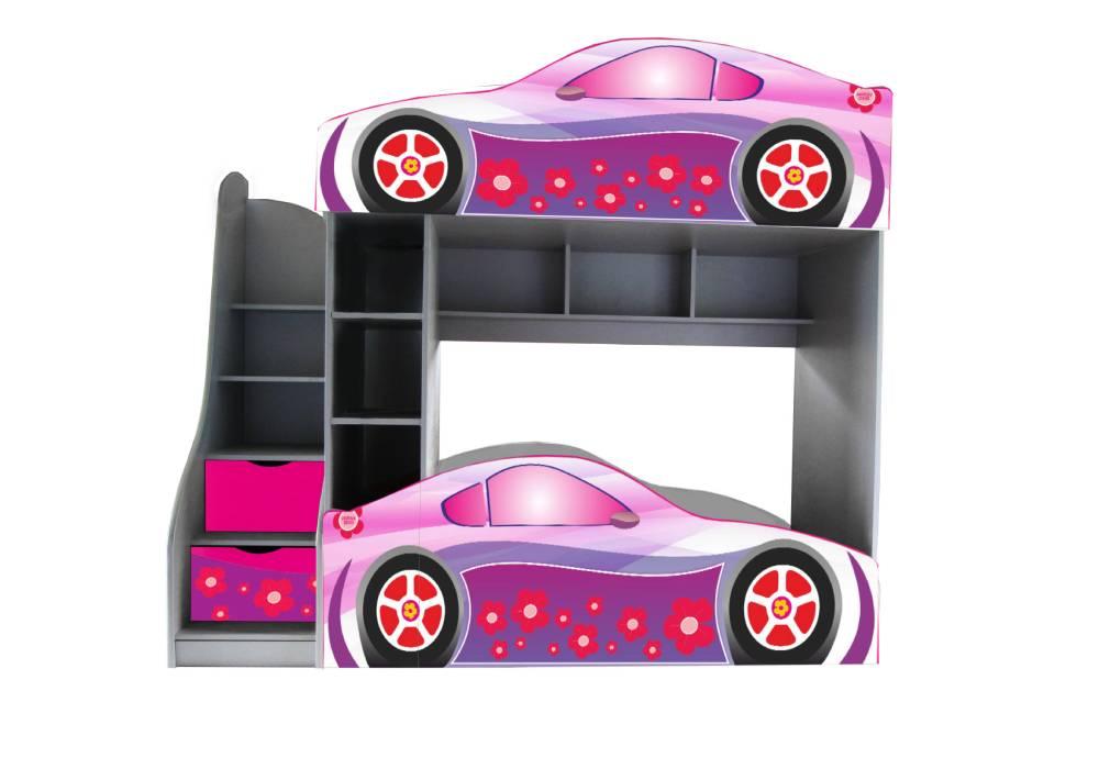 двухъярусная кровать машинка лили розовая