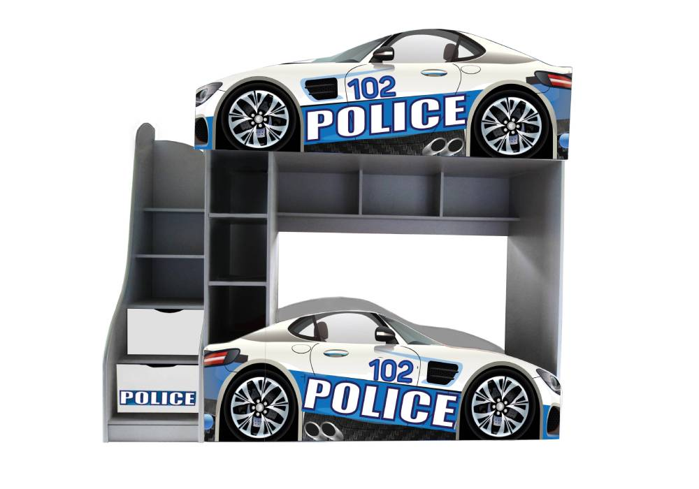 двухъярусная кровать машинка полиция