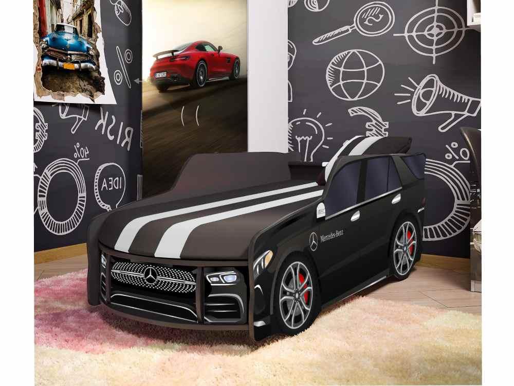 детская кровать машина мерседес черный в комнате