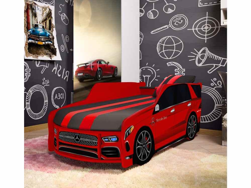 детская кровать машина мерседес в комнате красный