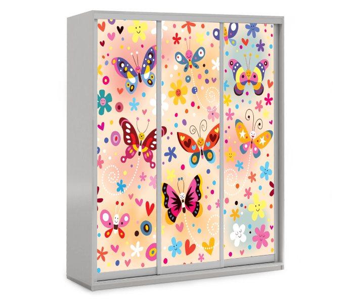 детский шкаф купе 3 дверки бабочка