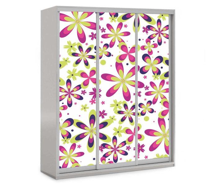 детский шкаф купе на 3 двери с цветами