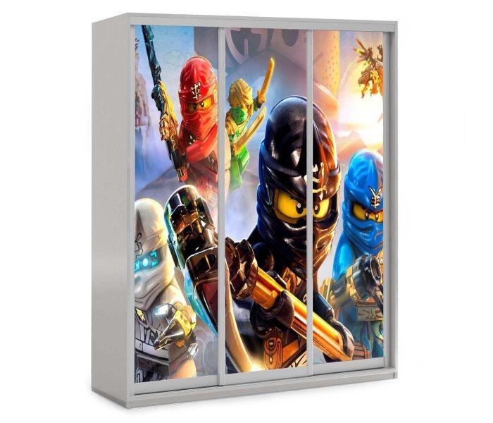детский шкаф купе 3 дверки мульт герои в масках