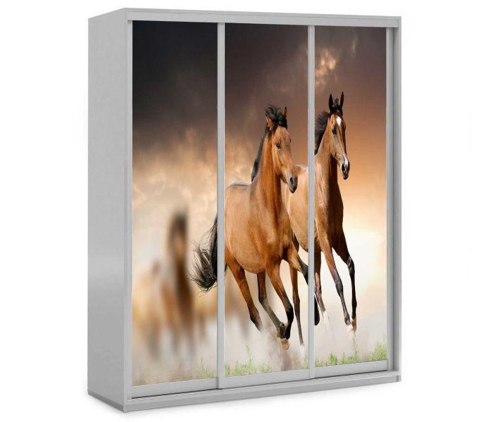 детский шкаф купе 3 дверки с лошадками