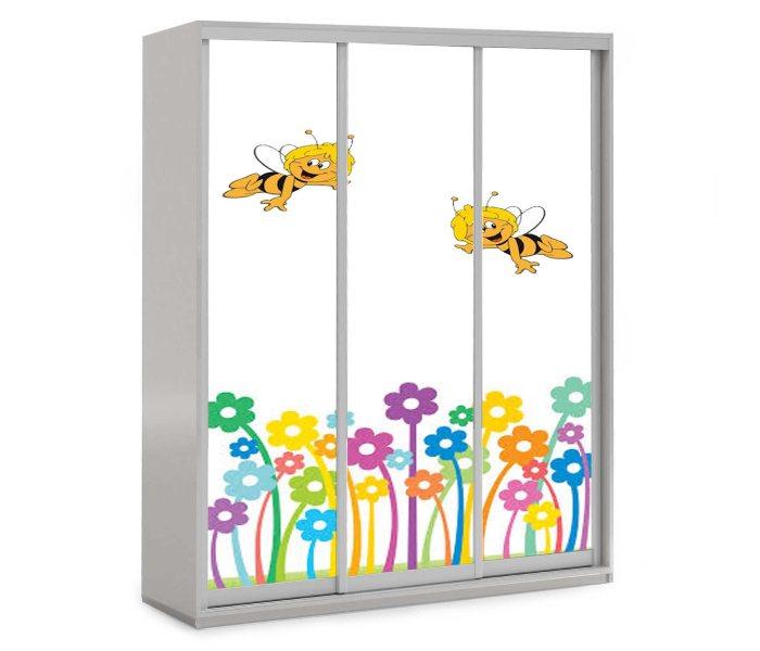 детский шкаф купе на 3 двери пчелки