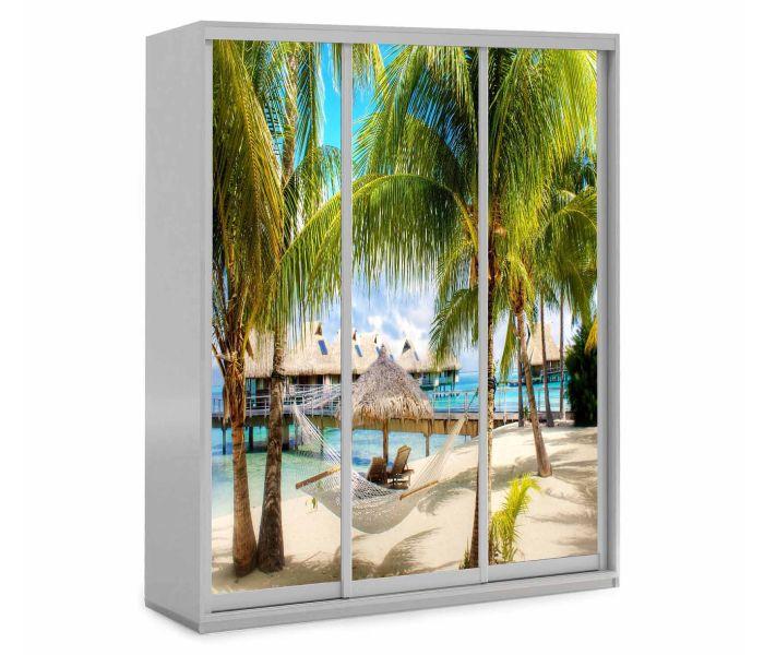 детский шкаф купе 3 двери пляж и пальма