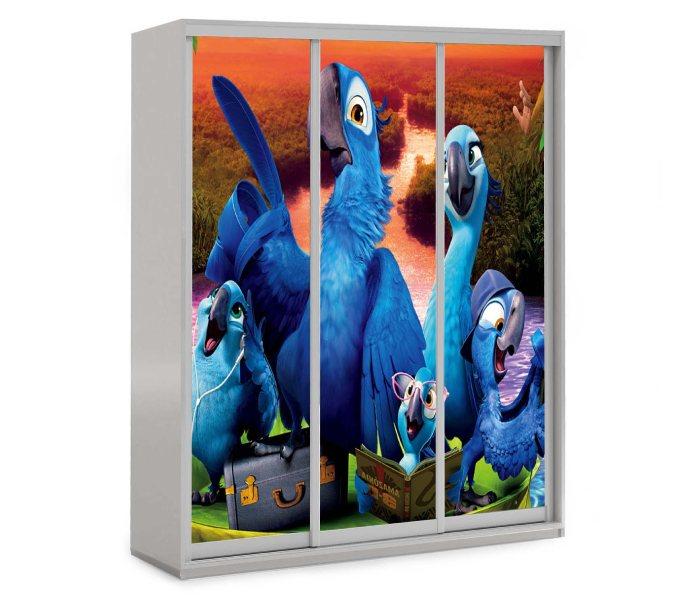 детский шкаф купе 3 дверки мульт рио попугайчики