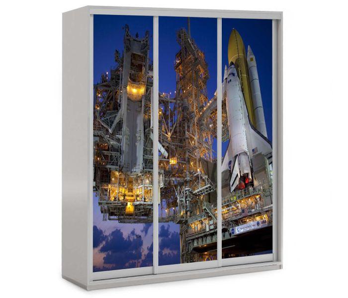 детский шкаф купе 3 двери ракета в космос