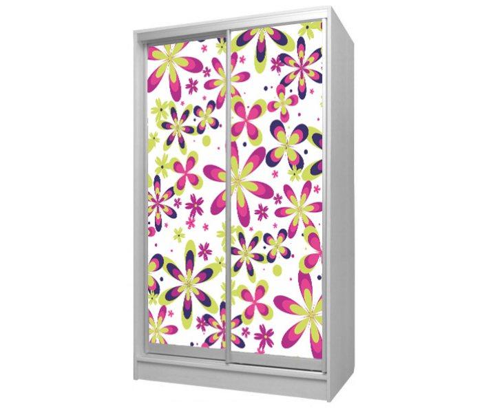 ,детский шкаф купе с цветочками на 2 дверки