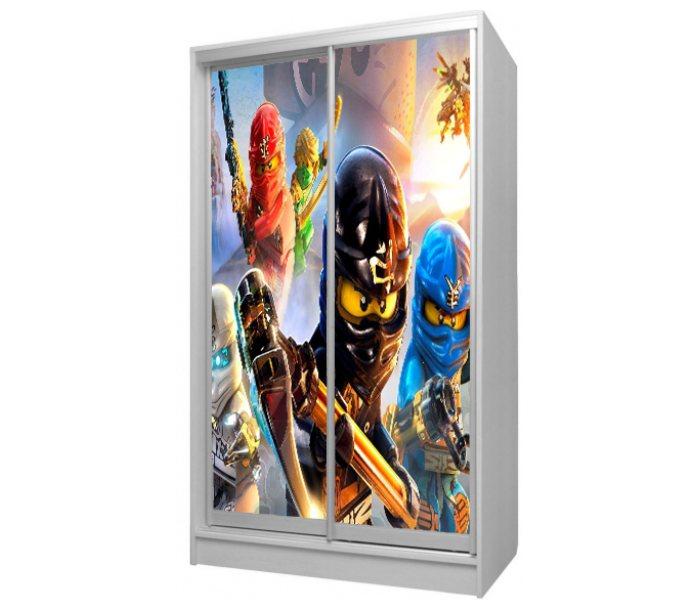 детский шкаф купе 2 дверки герои в масках