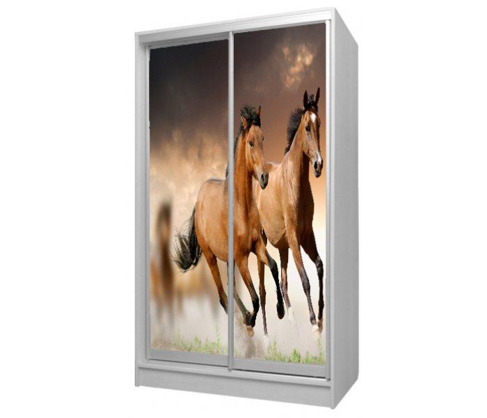 детский шкаф купе 2 дверки с лошадками