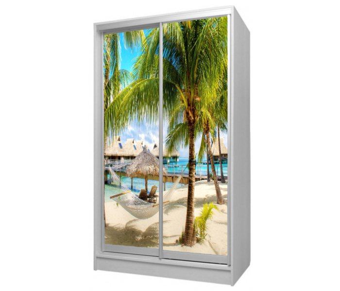 детский шкаф купе 2 двери пляж и пальма