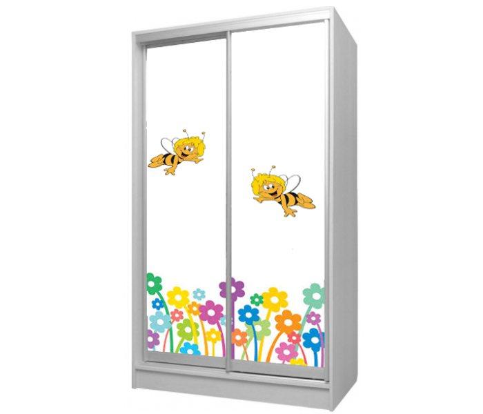 детский шкаф купе с цветами и пчелками
