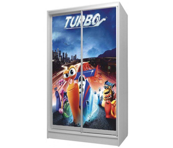 детский шкаф купе 2 дверки мультик турбо