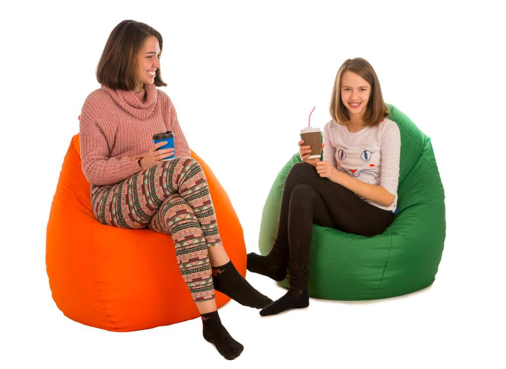 кресло мешок груша оранжевый и зеленый