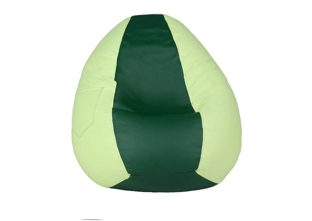 кресло мешок из эко кожи груша двухцветная зеленая