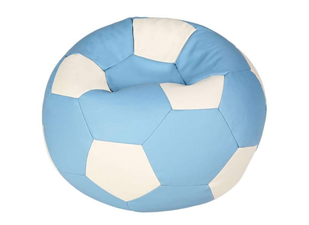 кресло мешок мяч голубой с белым