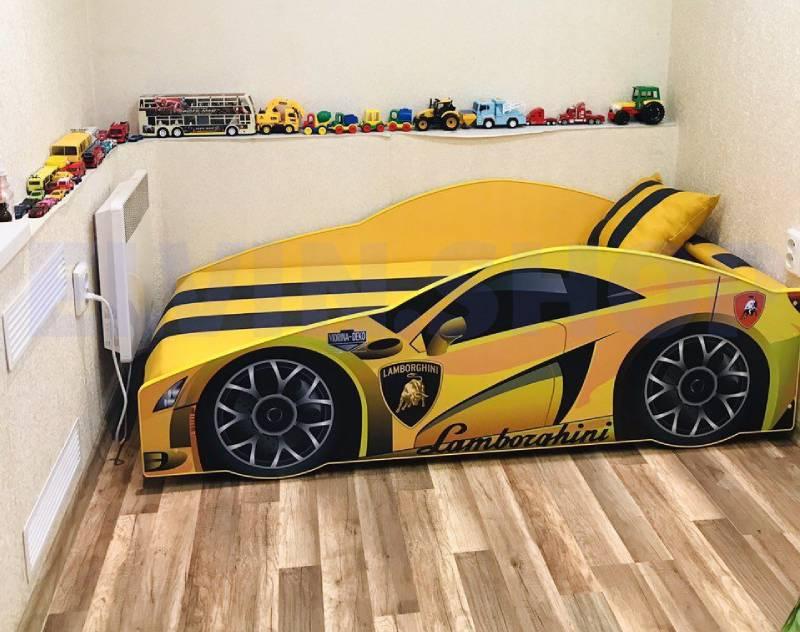 фотоотзыв кровати машинки ламборджини желтой