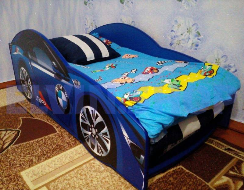 фотоотзыв кровати машинки бмв синего цветв