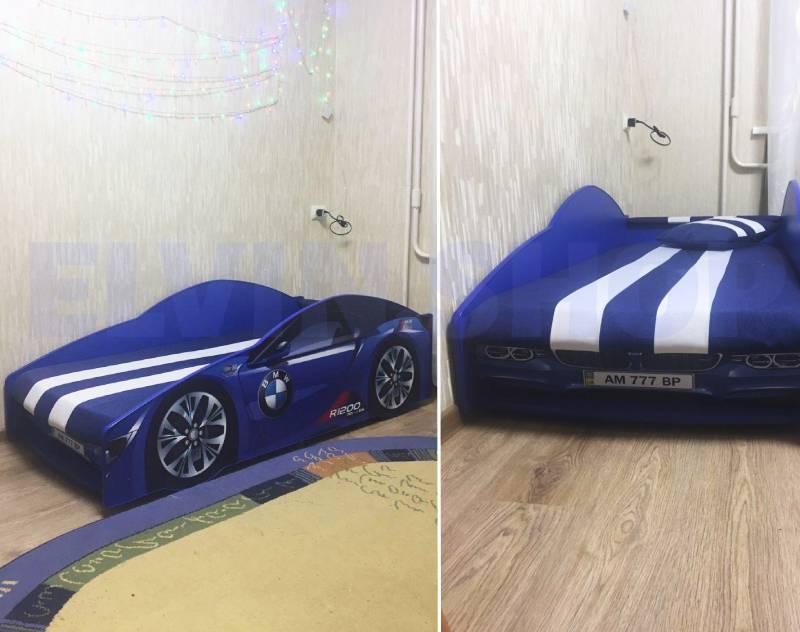 фотоотзыв кровати машинки бмв синий