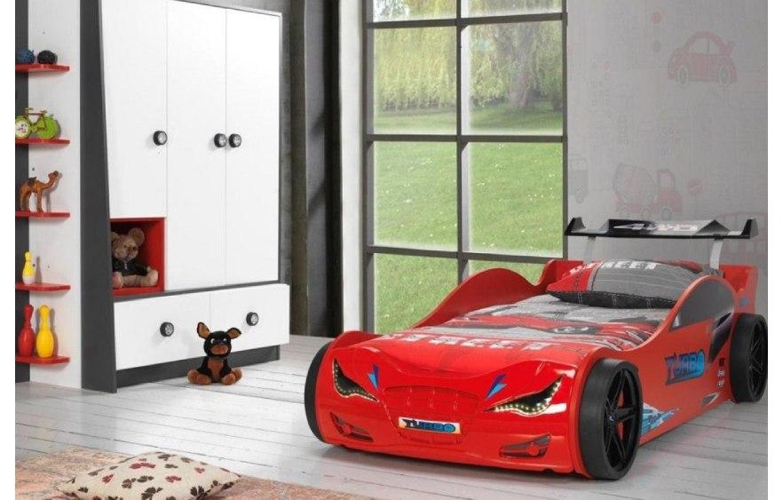 детская кровать машина из пластика турбо красная