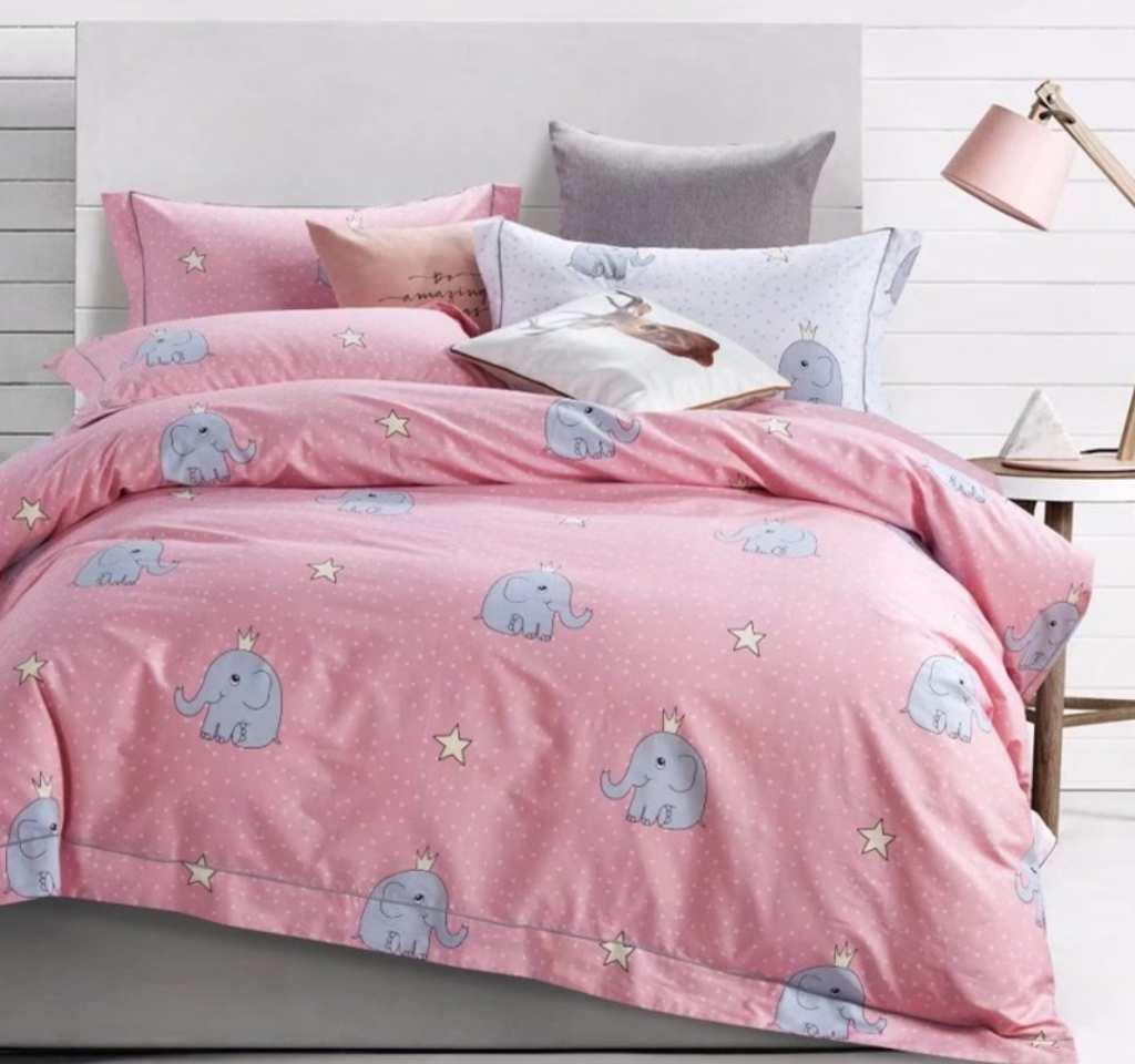 детское постельное сатин элит слоники на розовом