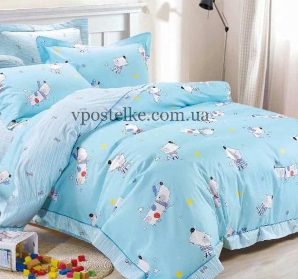 детское постельное сатин элит собачки на голубом