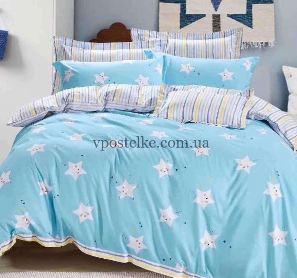 детское постельное сатин элит звездочки на голубом