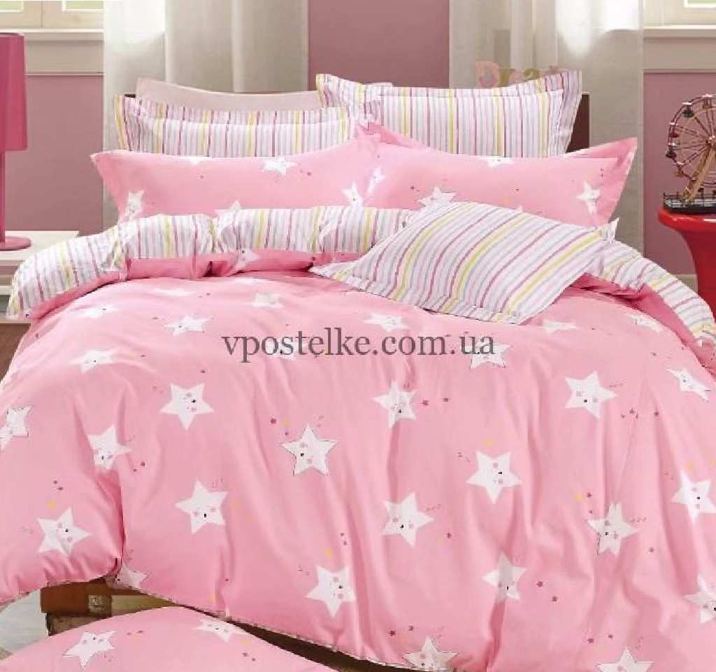детское постельное сатин элит звездочки на розовом