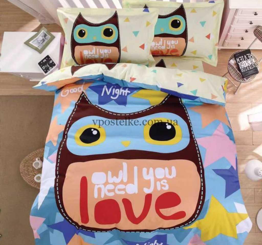 детское постельное сатин панель сова