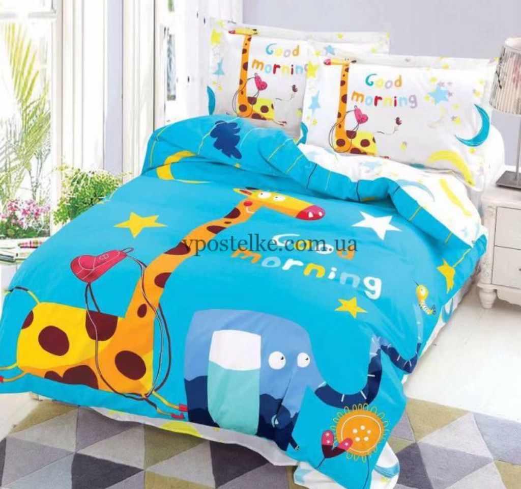 детское постельное сатин панель жирафик