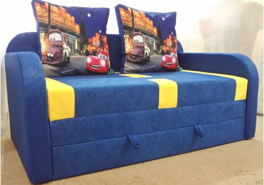 детский раскладной диван етюд тачки синий