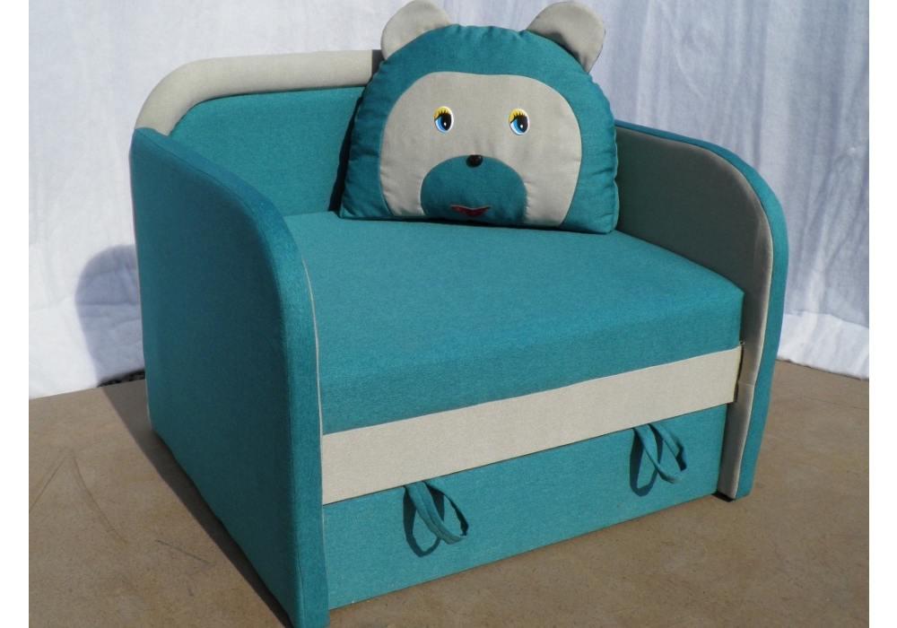 кресло кровать детское мишка голубое