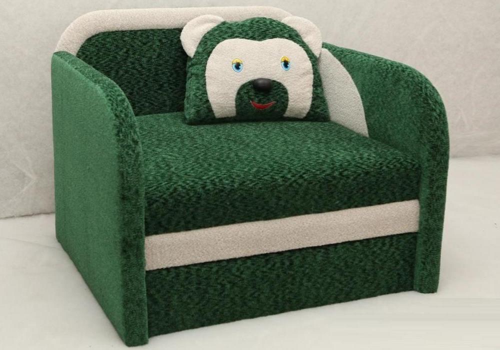 кресло кровать детское мишка зеленое