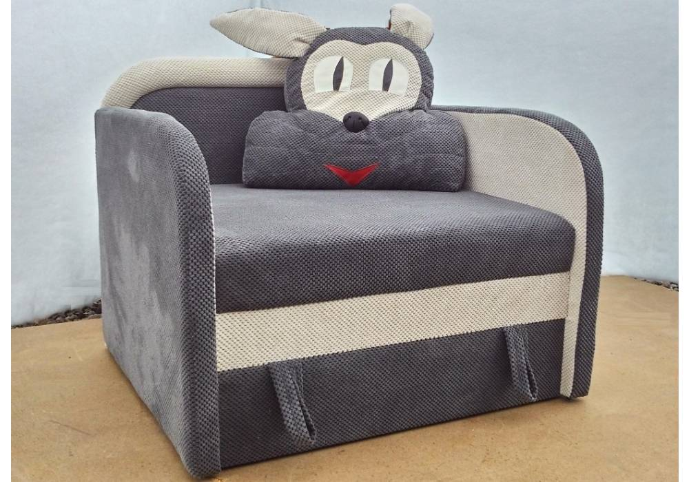 детское кресло кровать заяц серое