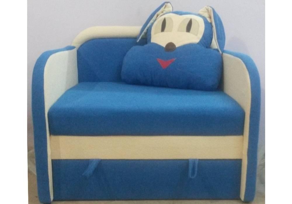 детское кресло кровать заяц синее