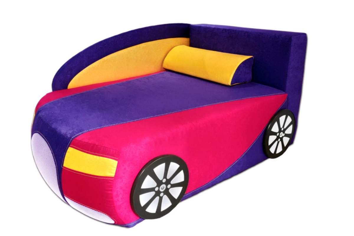 детский кровать диван бугатти фиолетовый с розовым
