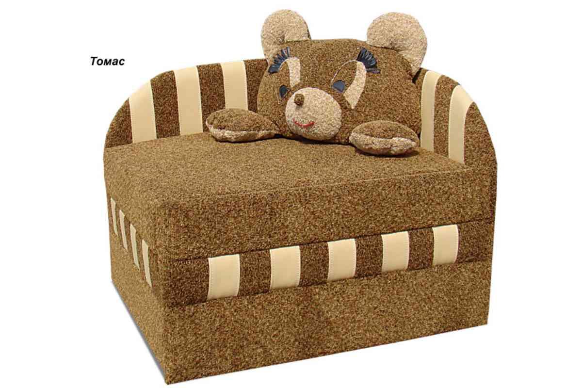 детское кресло кровать панда коричневое