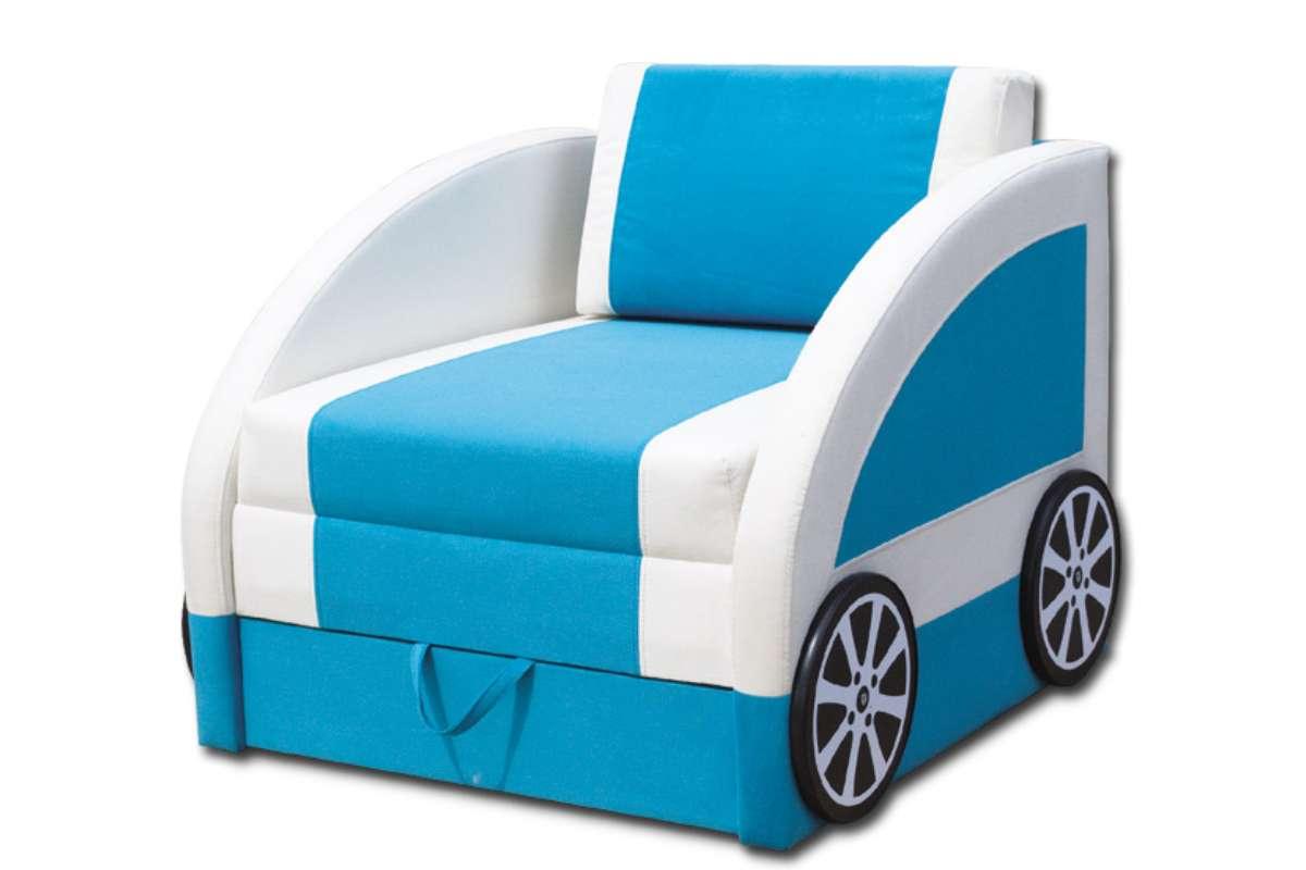 детский диван машинка смарт голубой